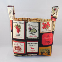 Cute Wine Themed Kitchen Fabric Basket For Storage Or Gift Giving