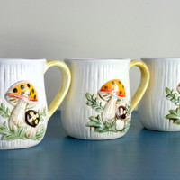 2 REMAINING Single Sears, Roebuck & Co. Retro 1970's Mushroom Mug Sold Individually
