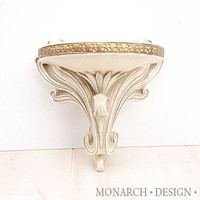 White Wall Sconce Small Wall Shelf Ornate Scroll Vintage