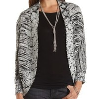 Black Combo Marled Cocoon Cardigan by Charlotte Russe