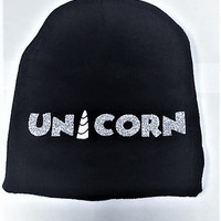 Unicorn Beanie, Unicorn Winter Hat, Gifts for Girls, Knit Winter Hat, Unicorn Horn Hat, Novelty Hat for Teens, Gag Gifts for Women, Group