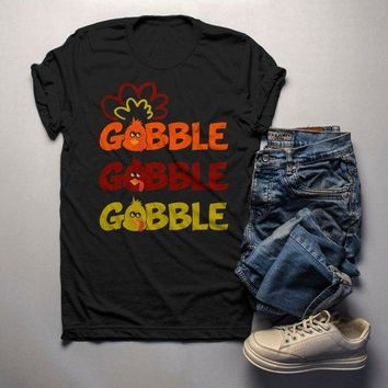 Men's Funny Thanksgiving T Shirt Gobble Gobble Turkey Shirts Hipster Tee Turkeys