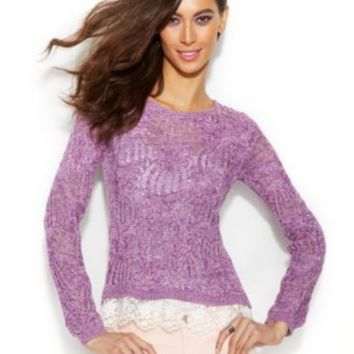 INC International Concepts Long-Sleeve Marled-Knit Sweater | macys.com