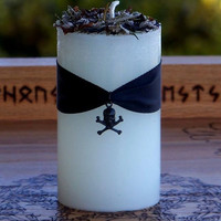 CROSSROADS CONJURE Musky White Pillar Candle by ArtisanWitchcrafts