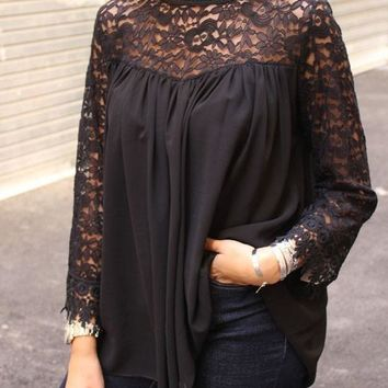New Black Patchwork Embroidery Lace Draped Band Collar Long Sleeve Blouse