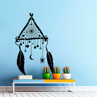 Wall decal art decor decals sticker Dreamcatcher Protection feather Spider Decal amulet India mascot web Indians  U421