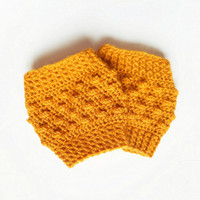 Textured Crochet Boot Cuffs in Gold Mustard Yellow, Wool Blend, ready to ship.