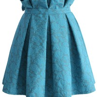 Turquoise Rose Embroidered Pleated Skirt