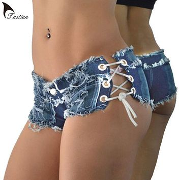 TASTIEN Women Sexy Jeans Denim Shorts 2017 Summer Fashion Cotton Lace-up Sexy Super Shorts Ladies Skinny Super Short Jeans Girls
