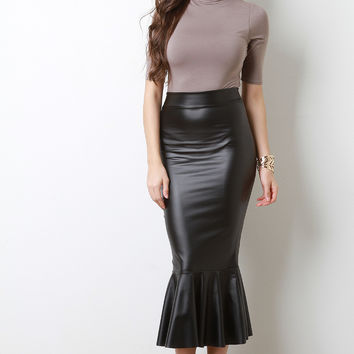 Vegan Leather Mermaid Midi Skirt