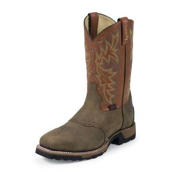 Tony Lama Men's 11 in. Steel Toe TLX Work Western Collection Boot, Antique Brown Montana