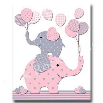 Pink grey nursery wall art for baby girl room decor elephant nursery art play room decor nursery artwork kids room decor children room decor
