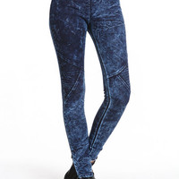 ACID DENIM MOTO LEGGINGS