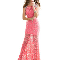 Cap Sleeve Lace And Beaded Formal Prom Dress Flirt P2844