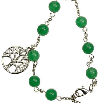 Green Aventurine Pentagram Tree Of Life Triquetra  Bracelet or Anklet  9 inches at longest  jewelry   wicca  spells