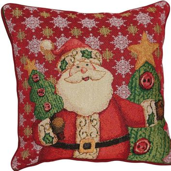 Tache Festive Christmas Cute Santa Clause Is Coming to Town Cushion Cover