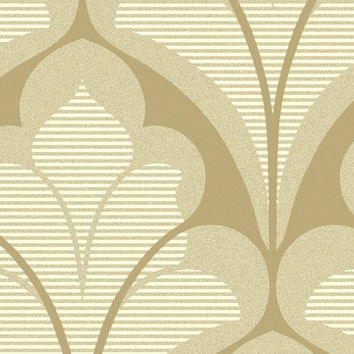 Damask Geometric Wallpaper in Metallic, Ivory and Beige design by Seabrook Wallcoverings