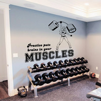 Wall Decal Quotes Sports Girl Muscles Rod Power Design Vinyl Decals Gym Playroom Nursery Living Room Kids Bedroom Home Decor Art Mural 3799