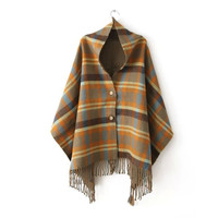 Tassels Plaid Cashmere Ladies Winter Scarf [9042034500]