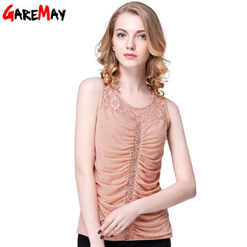 GAREMAY Womens Tanks Top Lace Sleeveless Top Femme Sexy Rhinestone Ladies Lace Tank Top Slim Vest U Crochet Patterns Women 0157
