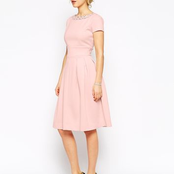 ASOS Embellished Neckline Debutante Midi Dress at asos.com