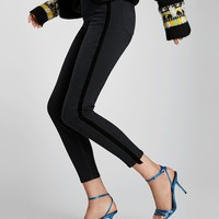 HIGH WAIST JEANS WITH VELVET BANDSDETAILS