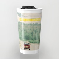 NEVER STOP EXPLORING - vintage volkswagen van Travel Mug by Leslee Mitchell