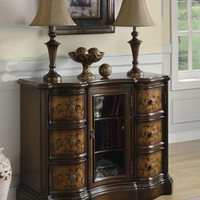 Two tone brown finish wood hall console entry table cabinet with 6 drawers with bowed fronts