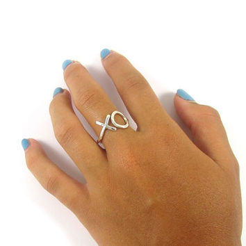 Sterling Silver XO Ring, Love, Sweetheart, Anniversary, Hammered,Textured, Handmade, Bridal Jewelry, Bridesmaid Gift Idea, Hug Kiss, Boho