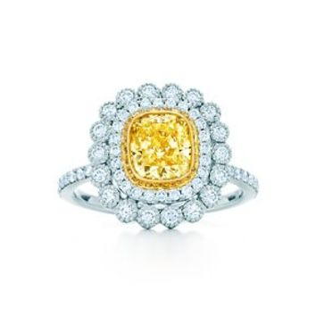 Tiffany & Co. -  Tiffany Enchant cushion-cut yellow diamond ring in platinum and 18k gold.