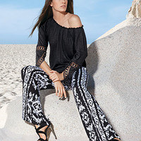 INC International Concepts Printed Wide-Leg Soft Pants