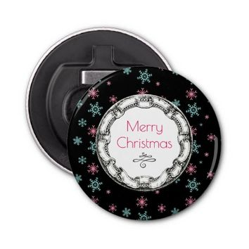 Merry Christmas Vintage Circle With Snowflakes Bottle Opener