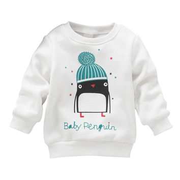 Hot 2017 New Baby Kid Shirt Top Baby Girl Penguin Print Long Sleeve Pullover Cotton Clothing