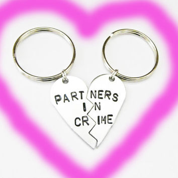 Partners in Crime Keychain, Gift For Best Friend, Best Bitches Key Chain, Hand Stamped Best Friend Keychain, Best Friend Gift, Keyring two 2