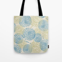 blue and green flowers Tote Bag by sylviacookphotography