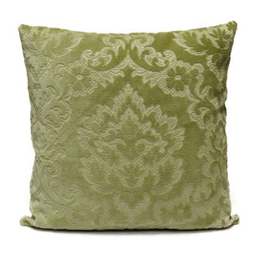 Seafoam green Velvet Damask Pillow, 18x18 cushion cover made from vintage upholstery fabrics by EllaOsix, luxury pillow, designer pillow,