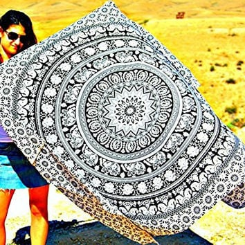 Hindu Tapestry Throw, Urban Outfitters Tapestry, Wall Decor, Bedspreads Bohemian Elephant Mandala Art Design, twin bedding bedroom. No stains, cotton, 55''x85'' +Meditation Ebook.