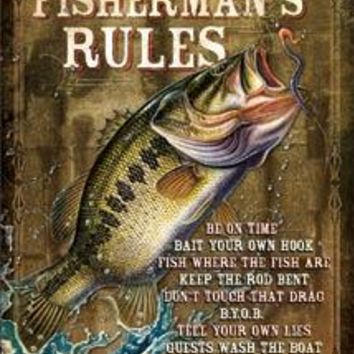 Tin Sign JQ - Fisherman's Rules
