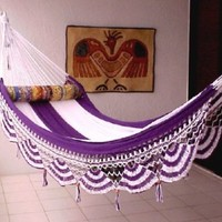 Nicamaka Couples Purple / White 5 Striped Hammock