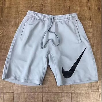 Nike Classic Popular Men Women Loose Big Logo Print Drawstring Quick Dry Sport Shorts Grey I13422-1
