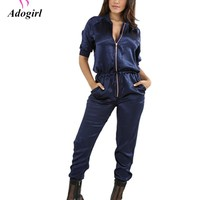 Adogirl Fashion Women Sexy Pink Jumpsuits Autumn Casual Pockets Lace Up Half Sleeves Turtleenck Regular Satin Club Long Rompers