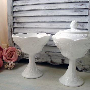 Vintage Milk Glass Candy Dish Set, Harvest Milk Glass Candy Pedestal Dish Set, Leaves and Grape Pattern Milk Glass Bowl Set, Shabby Chic