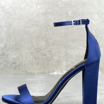 Taylor Navy Satin Ankle Strap Heels