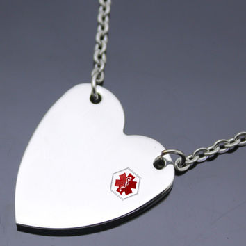 Stainless Steel Brushed Heart Medical ID Charm Pendant: SOD