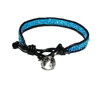 Bohemian black leather blue seed bead wrap bracelet rhinestone button clasp chan luu designer inspired
