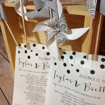 25 Custom Wedding Program Bags, Bridal Favor & Personalized Programs bags, Confetti or Favor Bags
