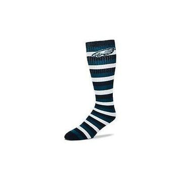 Philadelphia Eagles Striped Knee High Hi Tube Socks One Size Fits Most Adults