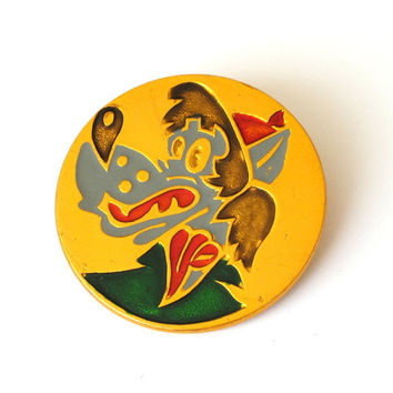 "Vintage Russian pin with famous soviet cartoon character wolf from cartoon ""Nu pogodi"". Metal pin badget painted in enamels."
