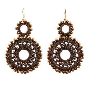 Brown Bead and Brown Thread Wrapped Round Drop Earrings