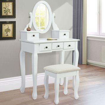 Vanity Mirror Makeup Table Set